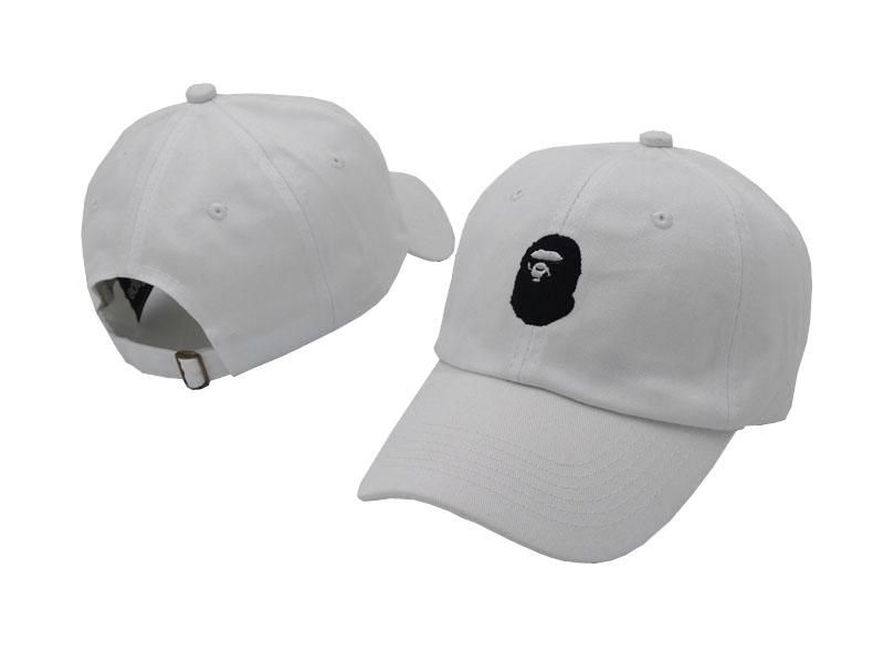 c3014ea5770d Men s   Women s A Bathing Ape Black Ape Head Logo Embroidery Adjustable  Curved Dad Hat - White