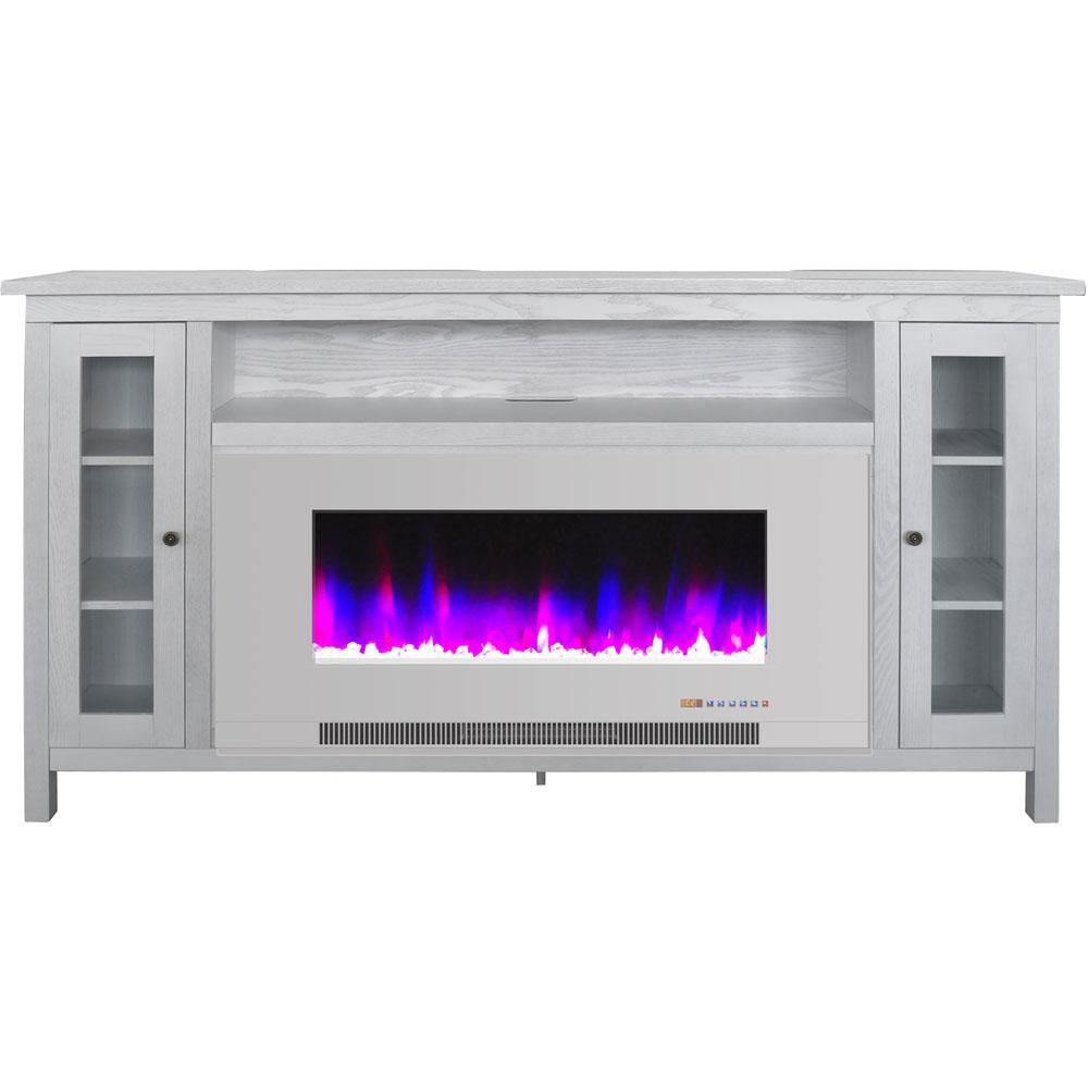 Cambridge Somerset 70 In White Electric Fireplace Tv Stand In Multi Color With Led Flames Crystal Rock Display And Remote Control Cam6938 1ww The Home Depot Fireplace Tv Stand Electric Fireplace Fireplace Tv White electric fireplace entertainment center