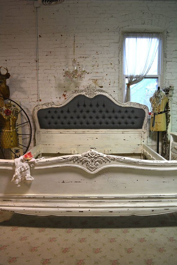 Painted Cottage Shabby French Linen Tufted Romantic Bed [BD706 ...