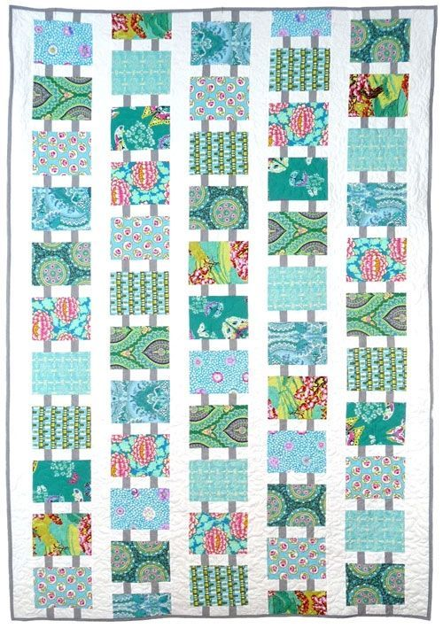 Follow the Leader by Weeks Ringle and Bill Kerr at Modern Quilt Studio. Fabrics by Amy Butler and Kaffe Fassett.