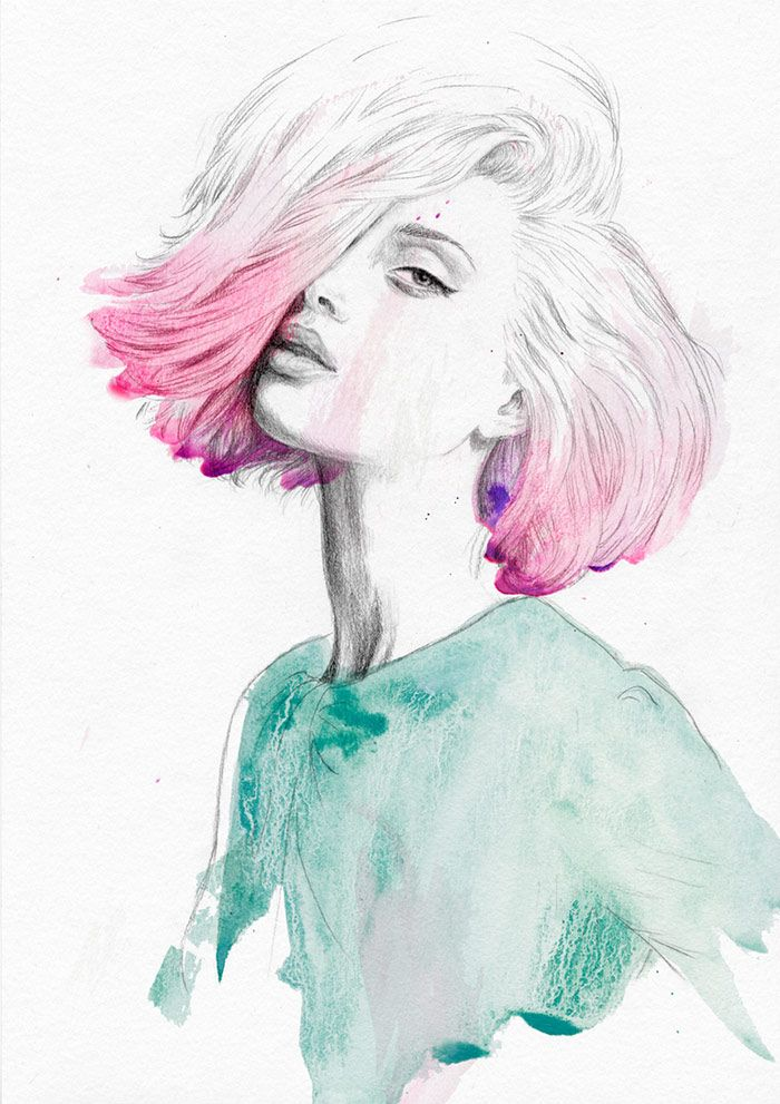 Pink Hair Don T Care Fashion Illustration By Jutta Rikola