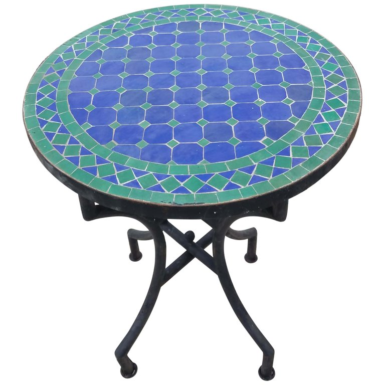 Blue Green Moroccan Mosaic Table Cr4 Mosaic Tile Table Moroccan Decor Living Room Mosaic Table Top Designs