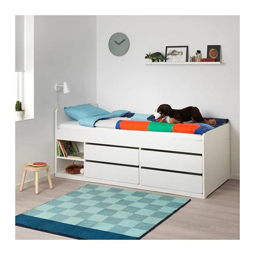 Slakt Bed Frame W Storage Slatted Bedbase White Twin Ikea Bed Frame With Storage Bed Frame Bed Storage