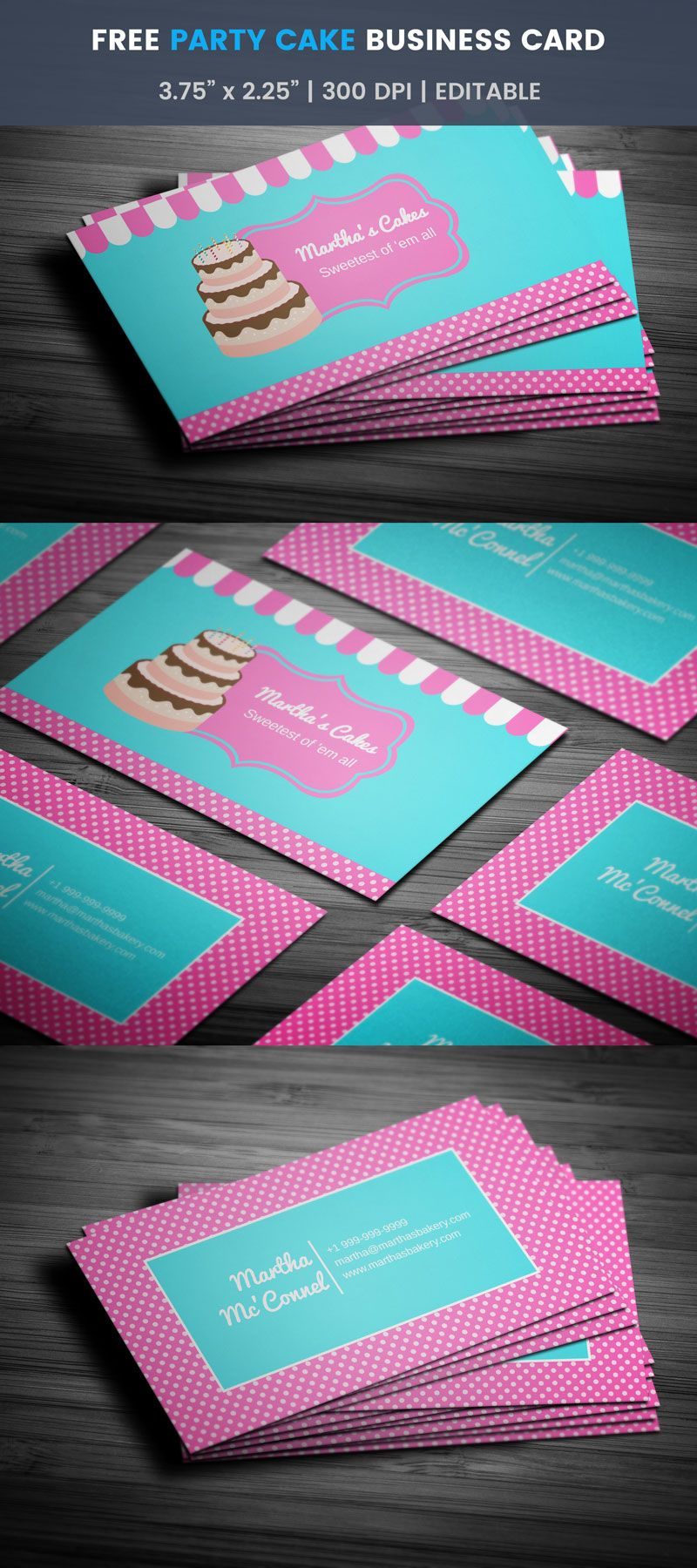 Party cake themed bakery business card full preview free bakery party cake themed bakery business card full preview accmission Gallery
