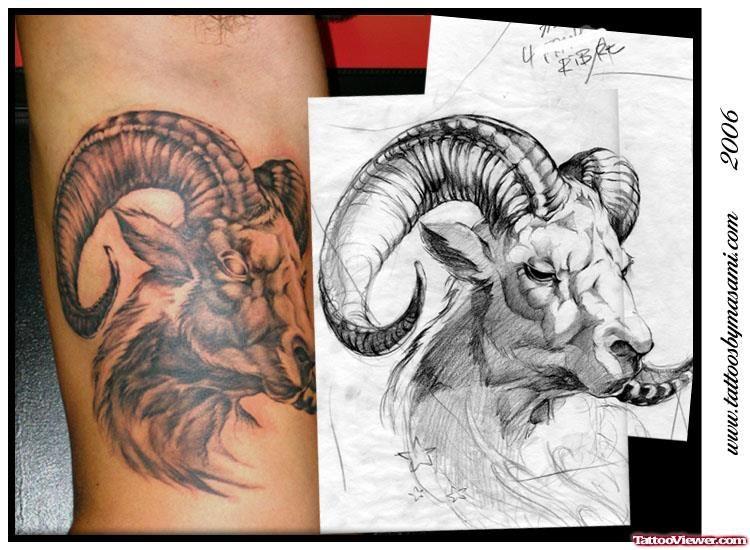 e0be24534 capricorn forearm tattoos goat head - Google Search | pretty | Ram ...