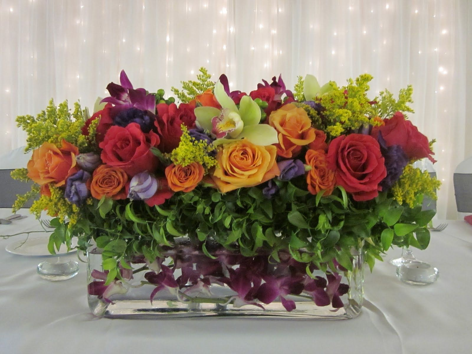 Rectangle Vase Flower Arrangement