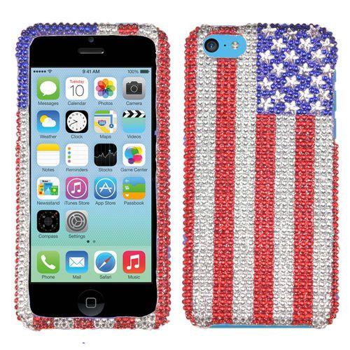 American Flag Diamond Bling Plastic Hard Cover Snap On Case Apple Iphone 5c Ebay Iphone Apple Iphone 5c Apple Iphone