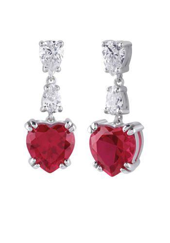 Orecchini in argento con pietre dure a forma di cuore e diamanti naturali, Bliss (€ 119)