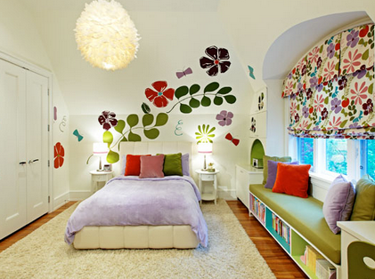Colorful Flowers Wall Stickers Murals For Teenage Girls Bedroom Wall  Decorating Design Ideas