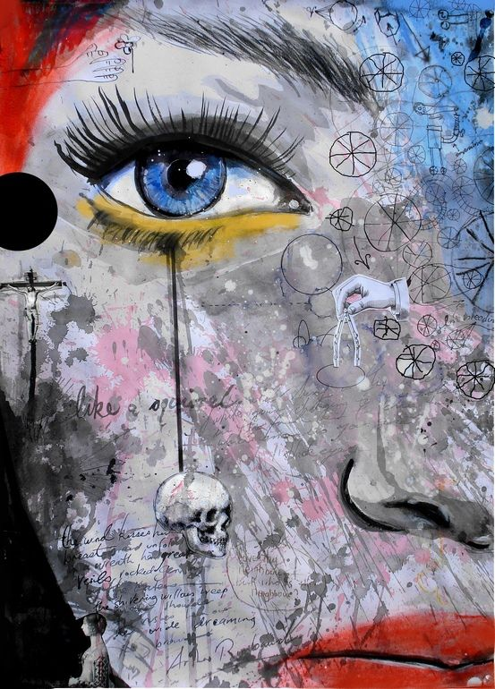 """Saatchi Online Artist: Loui Jover; Painting, Assemblage / Collage """"the wheels of dreaming"""""""