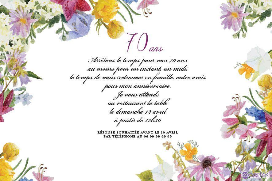 carte anniversaire 70 ans femme Mon petit jardin   invitation anniversaire 70 ans | Invitations