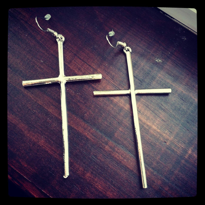 New cross earrings <3