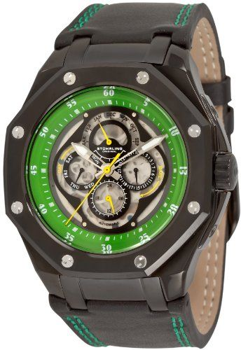 fb9987506 Stuhrling Original Mens 181AXL335571 Aquadiver Nemo MCX Automatic Skeleton  Calendar Green Watch >>> Check out the image by visiting the link.