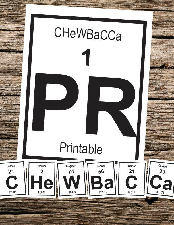 Chewbacca Periodic Table Letters By Thewookieworkshop On Etsy