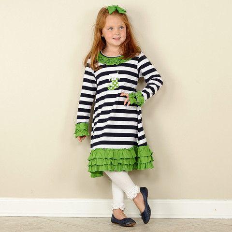 fb193e631d63 Girls Navy Stripe Green Ruffle Dress – Lolly Wolly Doodle ...