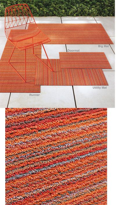 Share and get a 10% off coupon code! Chilewich Shag Skinny Stripe Indoor/Outdoor Doormat | NOVA68 Modern Design