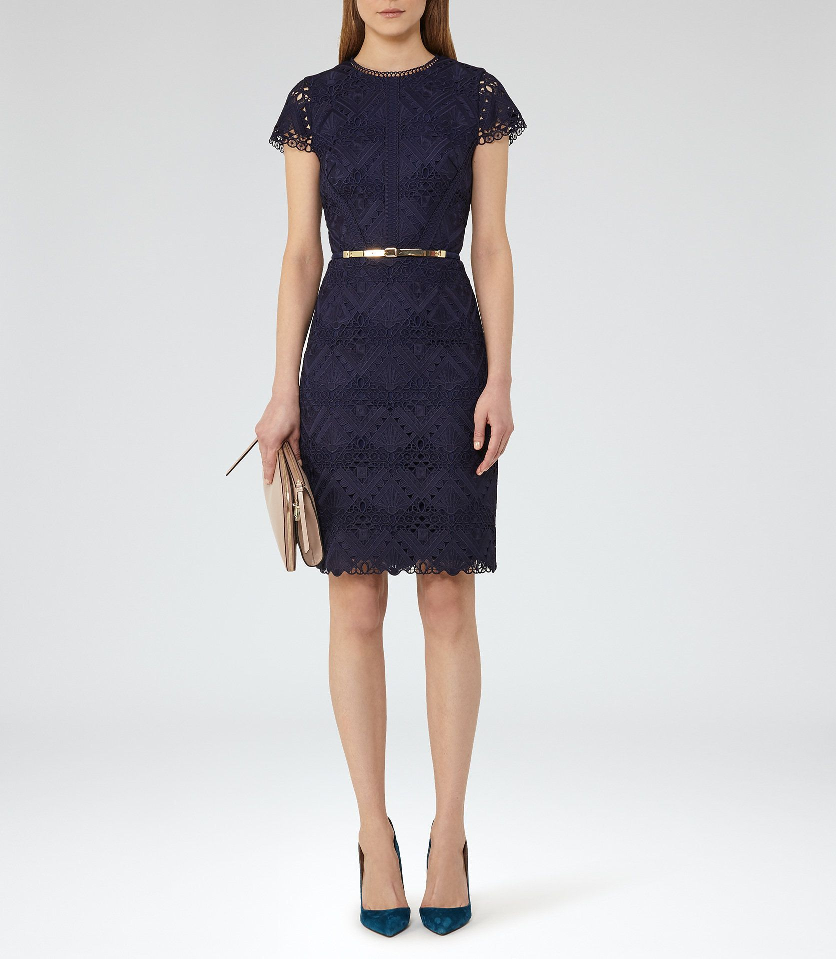 c9c4acb08ec Liza Night Navy Graphic Lace Dress - REISS