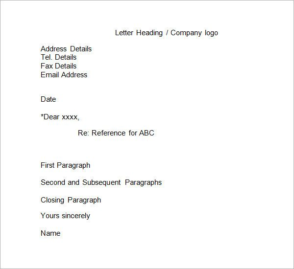 Simple Reference Letter Format  Format Letter Of Reference