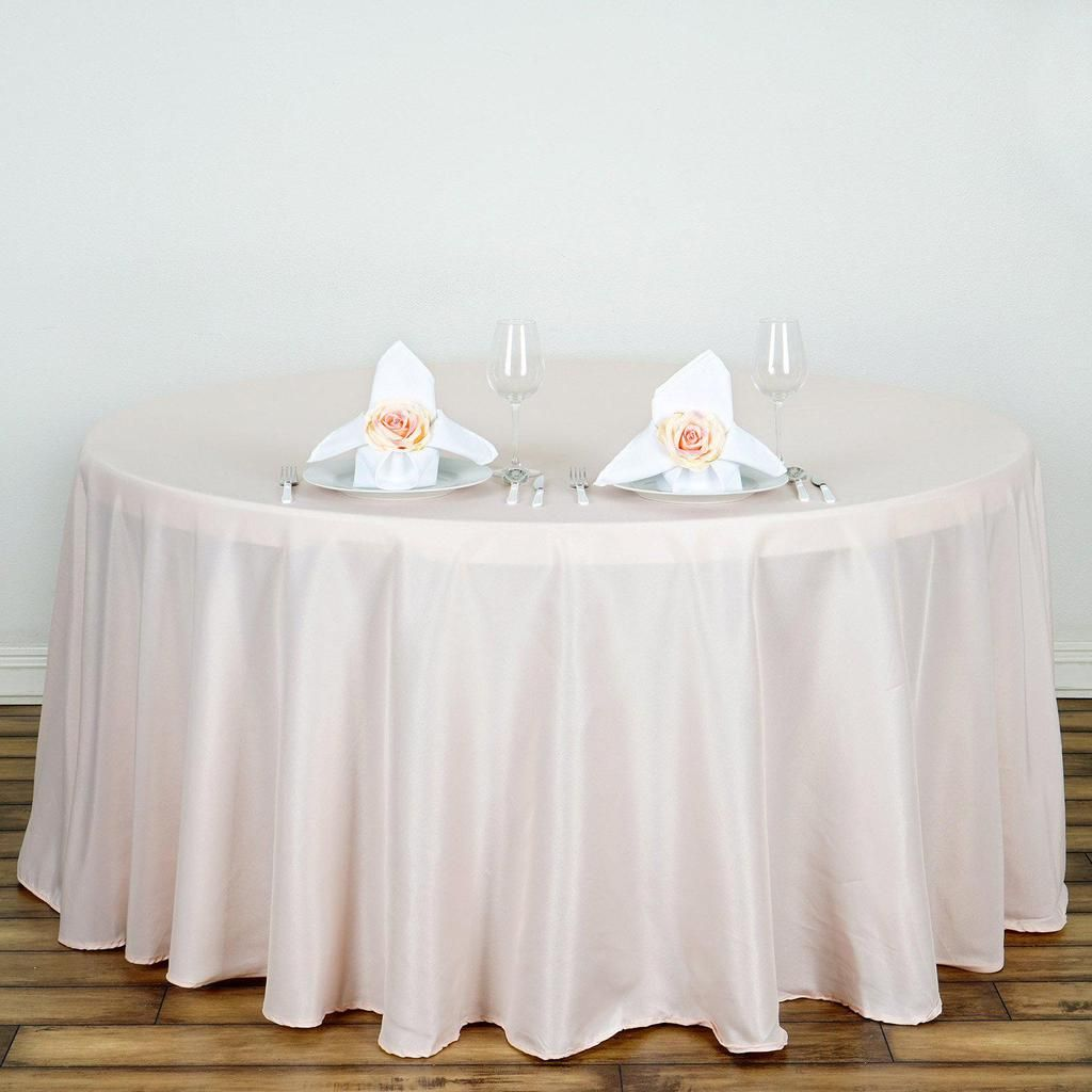 132 Blush Rose Gold Wholesale Polyester Round Tablecloth