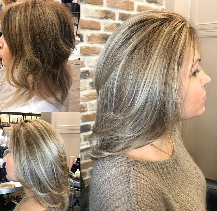 Natural Silver Blonde Gray Hair Highlights Grey Hair Transformation Blending Gray Hair