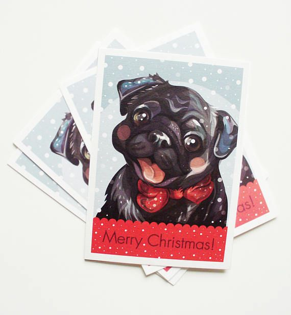 #blackpug #pug #pugs #pugillustration #pugart #Christmas #red #dog #blackdog #greetingcard #etsy #Christmascard #adobe #design #bowtie #pugs