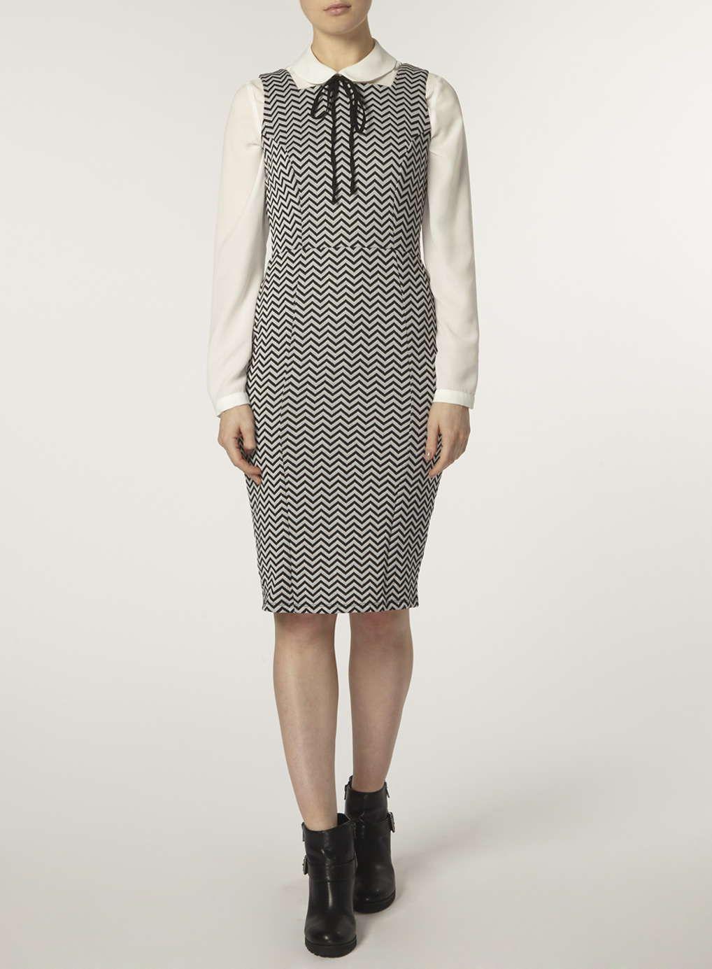 Grey chevron pinny dress - Dorothy Perkins