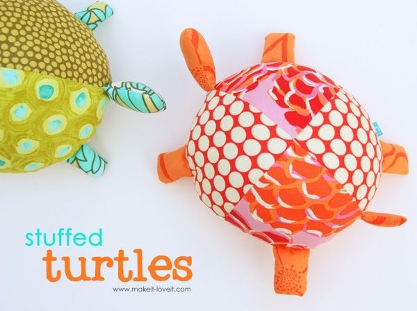 So cute, these turtles! Reminder: use old pillows for stuffing!