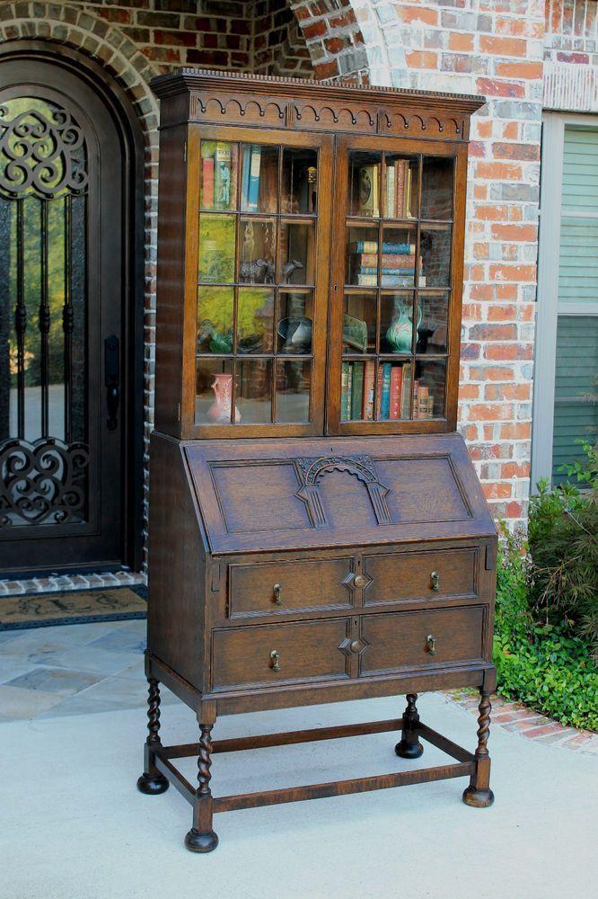 Antique English Oak Barley Twist Jacobean Fall Front Secretary Desk  Bookcase. Funky FurnitureVintage ... - Antique English Oak Barley Twist Jacobean Fall Front Secretary