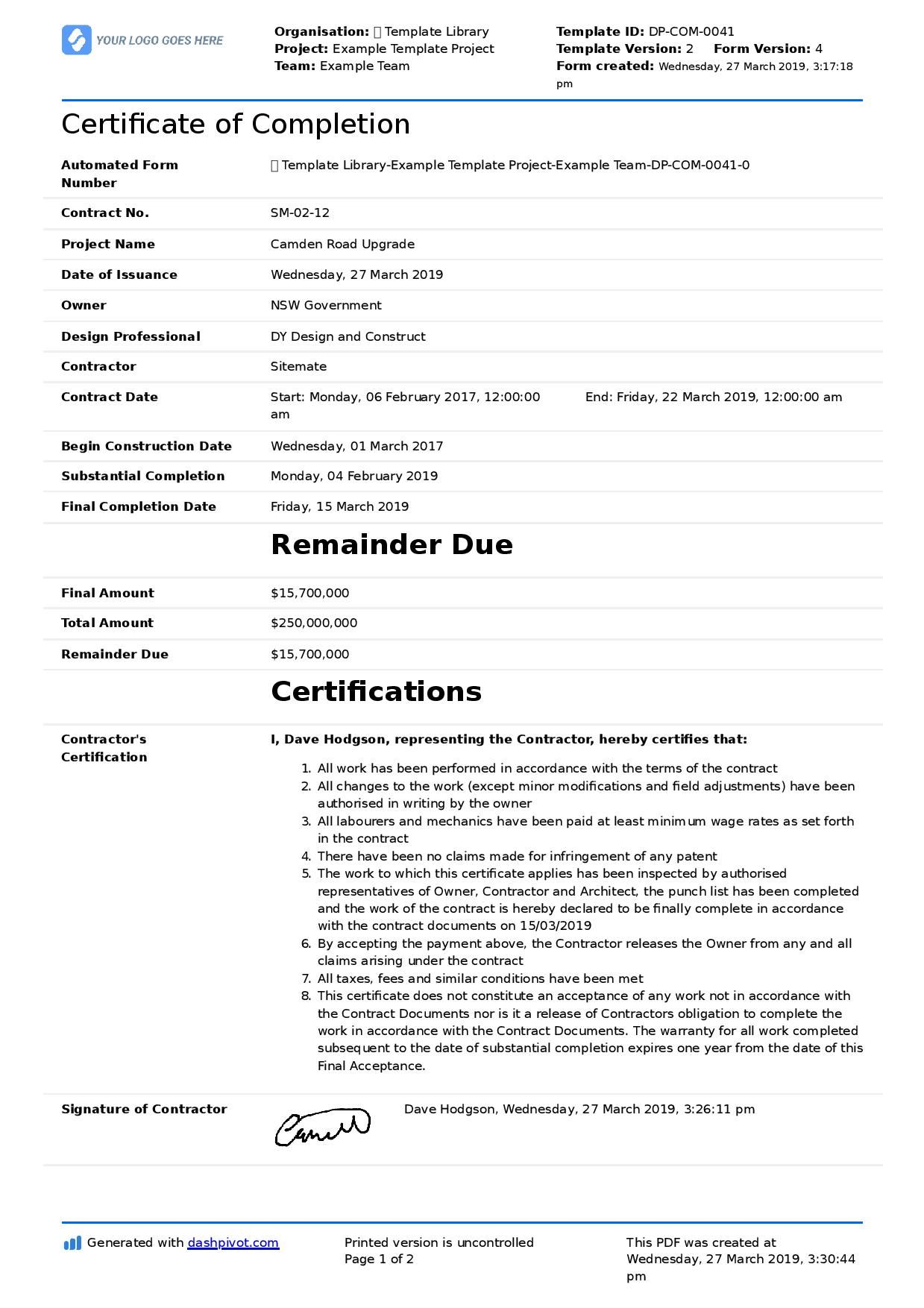 Certificate Of Completion For Construction (Free Template
