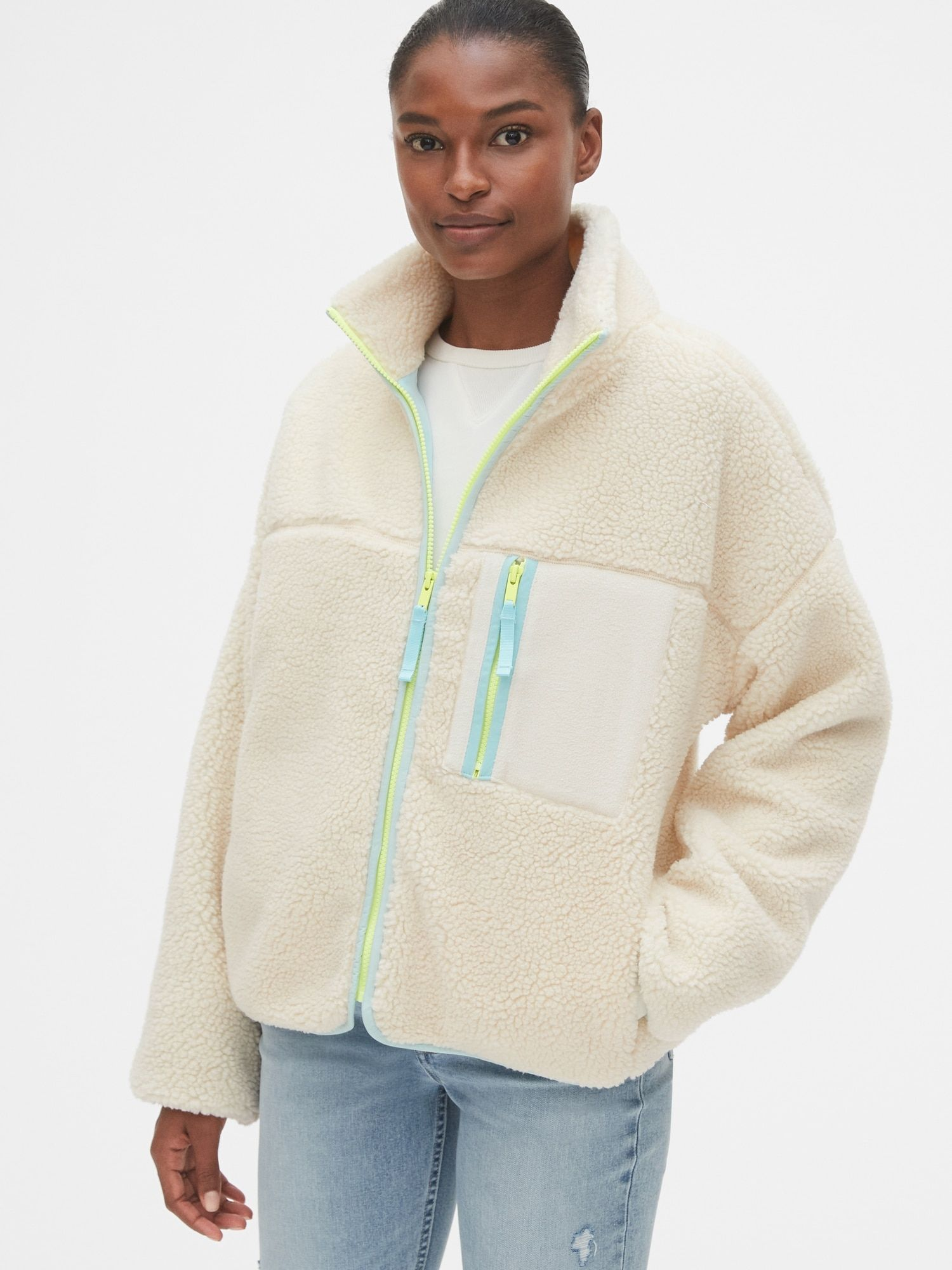Gap Sherpa Full Zip Jacket Off White In 2021 Coats Jackets Women Jackets Zip Jackets [ 2000 x 1500 Pixel ]