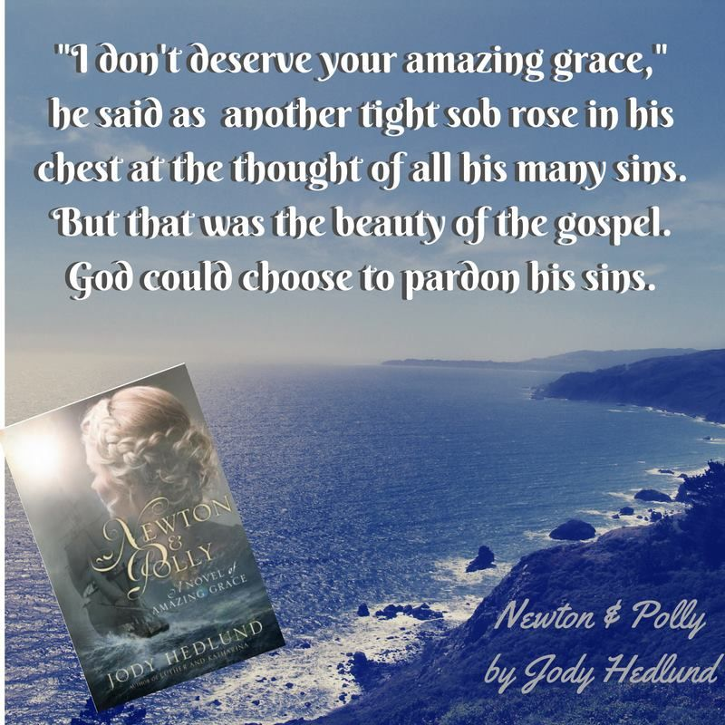 """""""I don't deserve your amazing grace,"""" he said as another tight sob rose in his chest at the thought of all his many sins. But that was the beauty of the gospel, God could choose to pardon his sins. (Designed by Meghan Myhren Bennett) #amazinggrace #johnnewton http://jodyhedlund.com/books/newton-and-polly-a-novel-of-amazing-grace"""