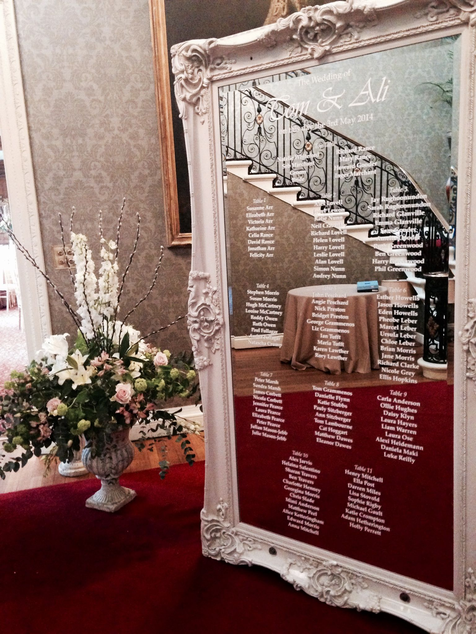 Mirror Table Plan Provided By Cavendishevents For Another Beautiful Wedding