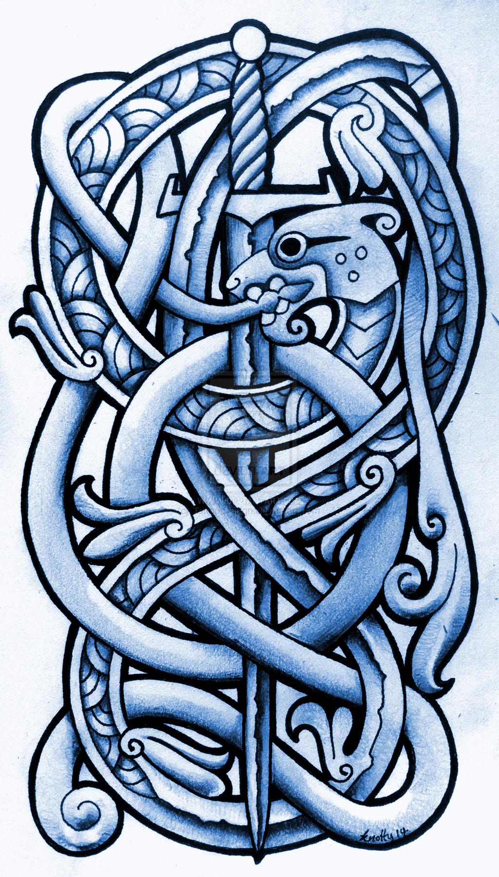 sea serpent and broadsword by tattoodesigndeviantartcom