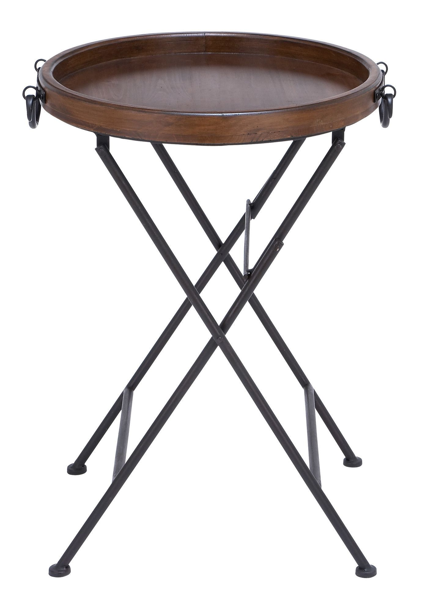Wood Tray Topped Table With An X Shaped Metal Frame. Product: Tray  TableConstruction Material: Wood And MetalColor: Brown And Black Features:  X Shaped Base ...