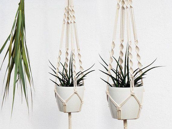 Plante de jardin Hanger MACRAME Suspension JARDINIERE PANIER Corde Flower Pot Holder Décor