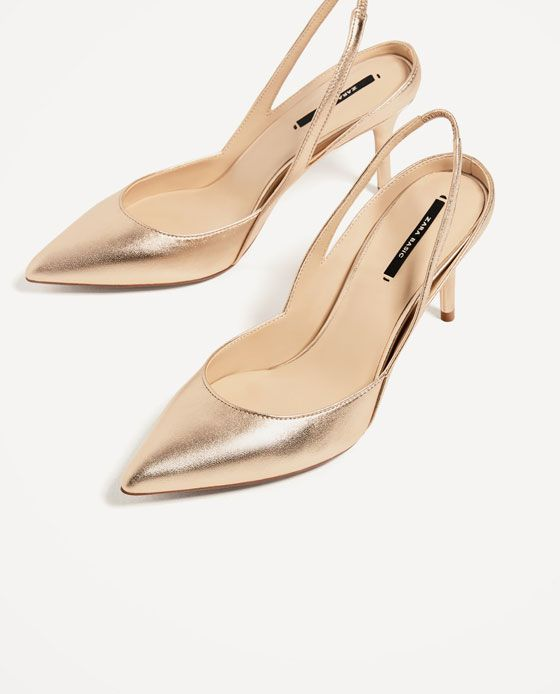 62a2d2f7 Image 3 of GOLDEN HIGH HEEL SLINGBACK SHOES from Zara | Cute pieces ...