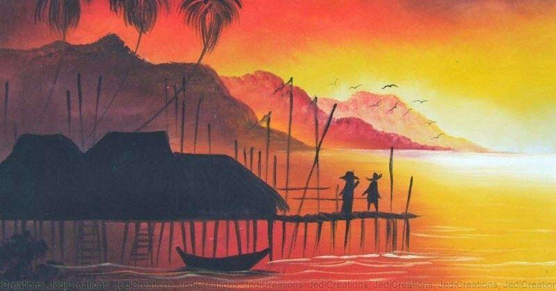 Lukisan Pemandangan Sunset Di Pantai Ini Merupakan Pemandangan Untuk Lukisan Di Tepian Pantai Yang Terletak Di Pulau Calayan Fili Di 2020 Pemandangan Di Pantai Pantai
