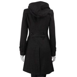 J Lo Women's 3/4-length Hooded Wool Coat by JLO | Hooded wool coat ...