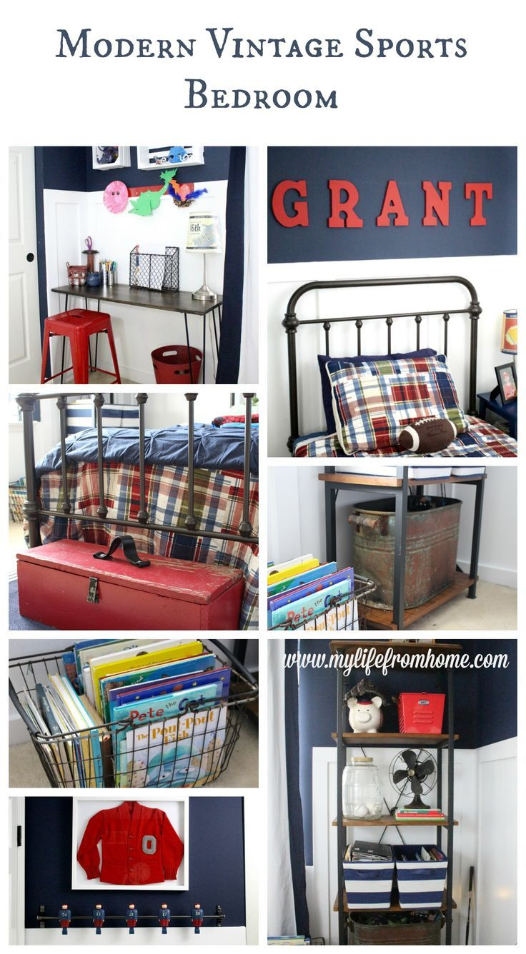A full space reveal of a modern vintage sports themed bedroom for a