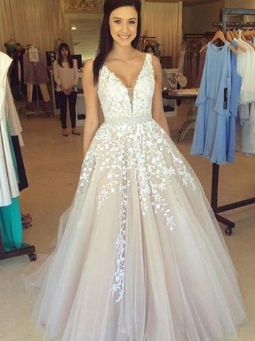 Beautiful Appliques A-line Long Wedding Dress Brides Dress Evening Dress MK508
