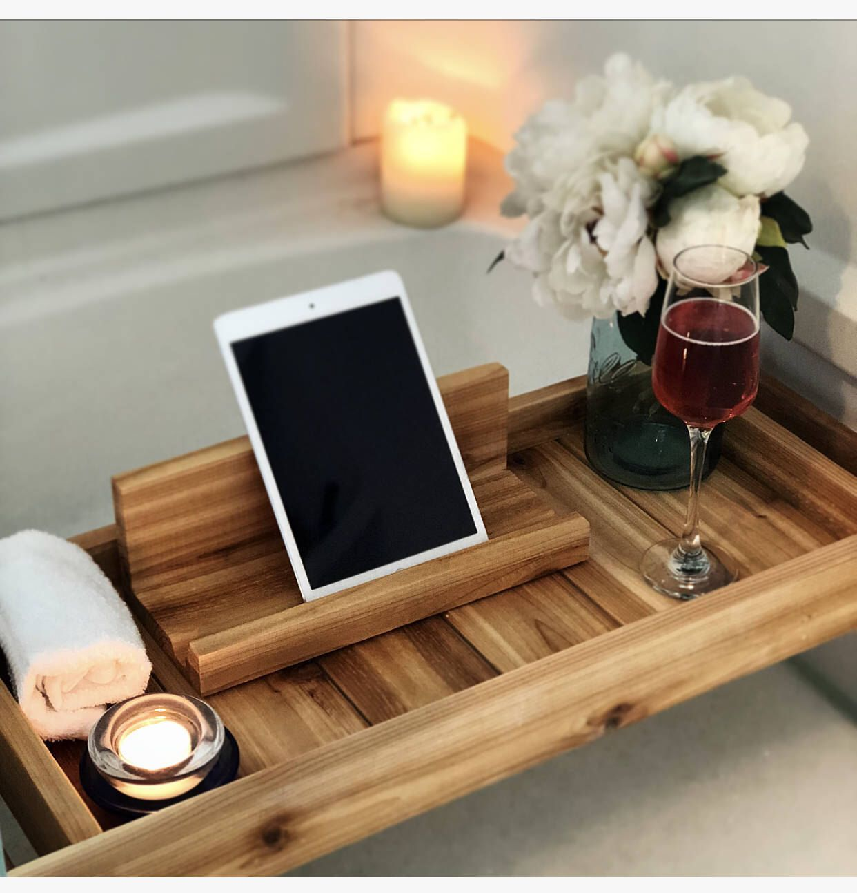 Cedar Bath Tray Bath Caddy Bath Tray With Ipad Holder