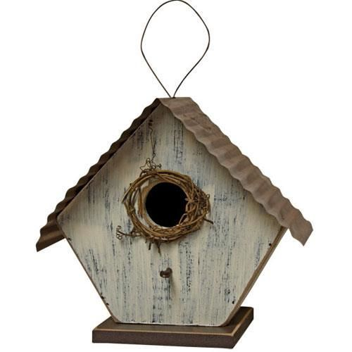 Best Ivory Bird House With Twine And Metal Roof Metal Roof 400 x 300