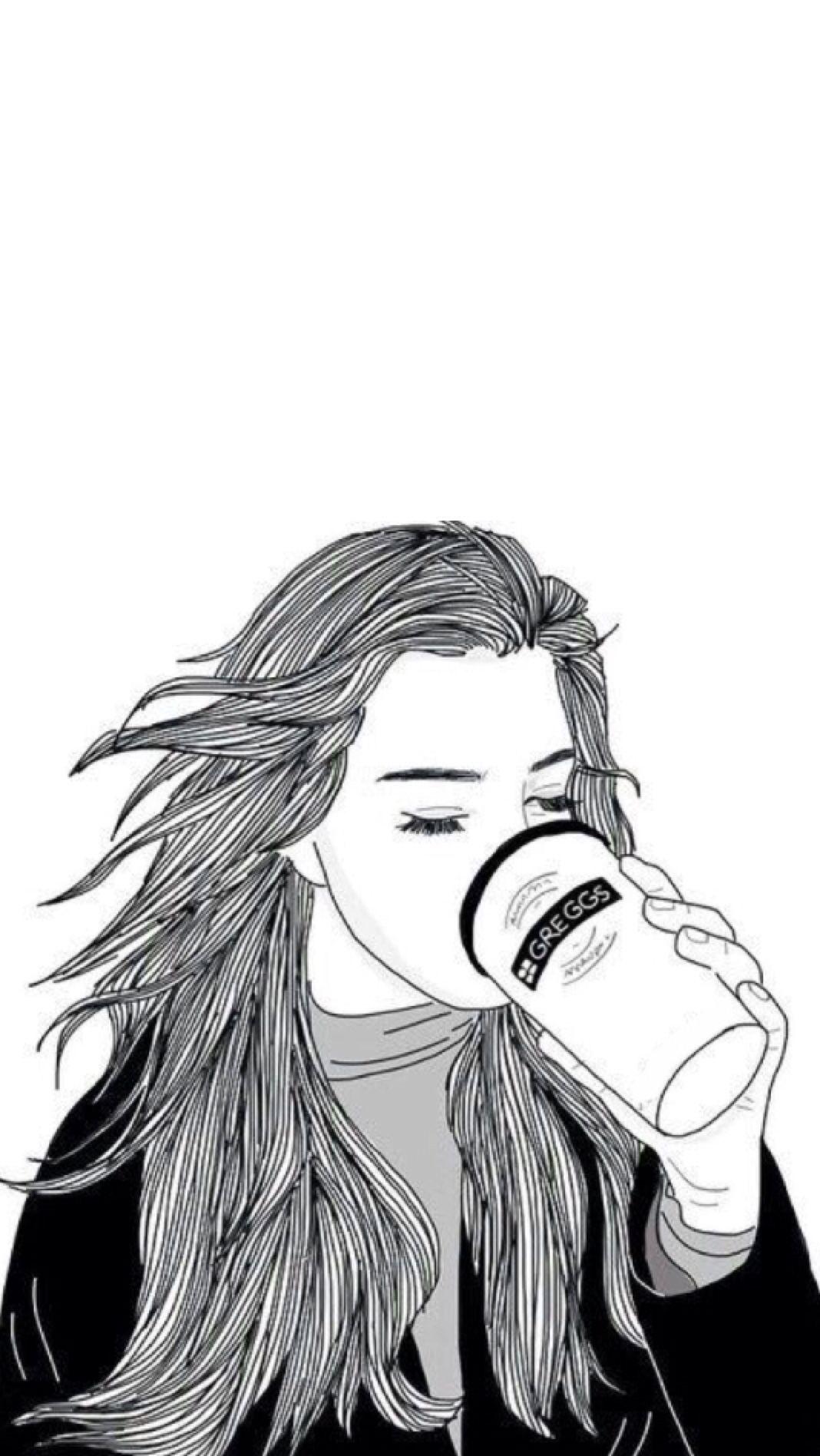 Outline draw lockscreens | Lockscreen. | Drawings, Tumblr outline, dan Tumblr girl drawing