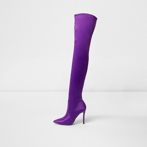 36291828efb River Island Purple satin over the knee boots ( 170) ❤ liked on Polyvore  featuring