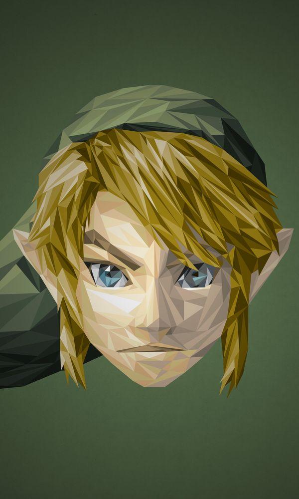 Artista recria personagens de video games usando formas triangulares.