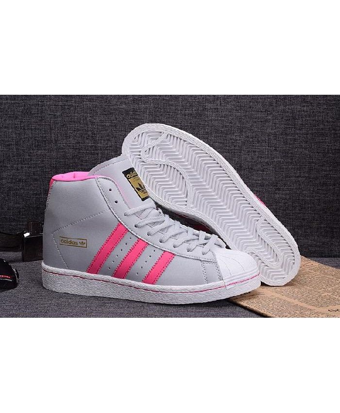 factory authentic d4e96 5b672 Adidas Superstar High Top Pink Stripes Grey Trainer ...