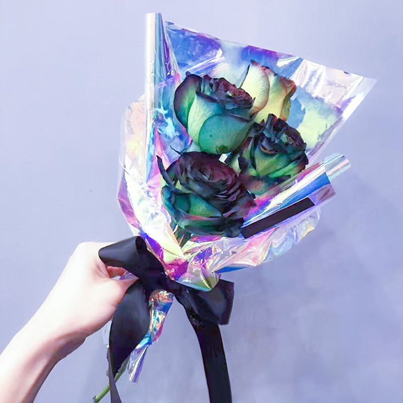 Flower Floral Wrapping Rainbow Cellophane Paper Candy Cake Cookie Gift Packaging