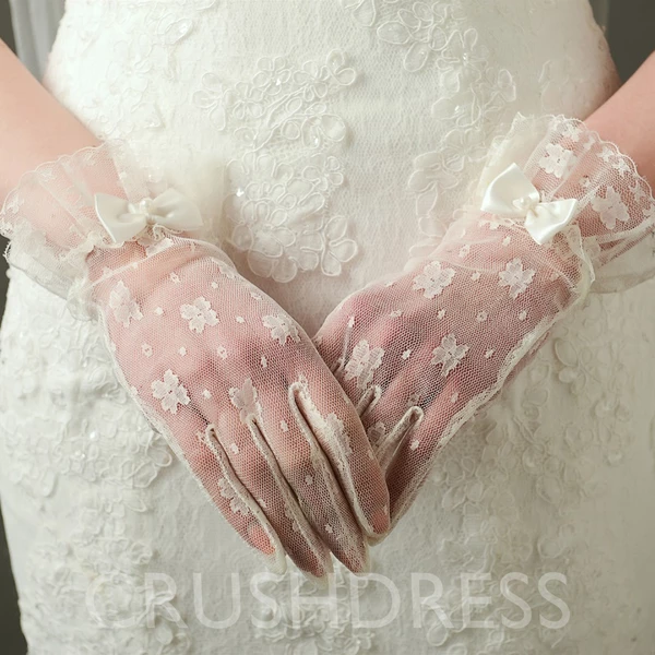 Fashion Women Girl Transparent Lace Fingerless Elbow Wedding Wear Short Gloves