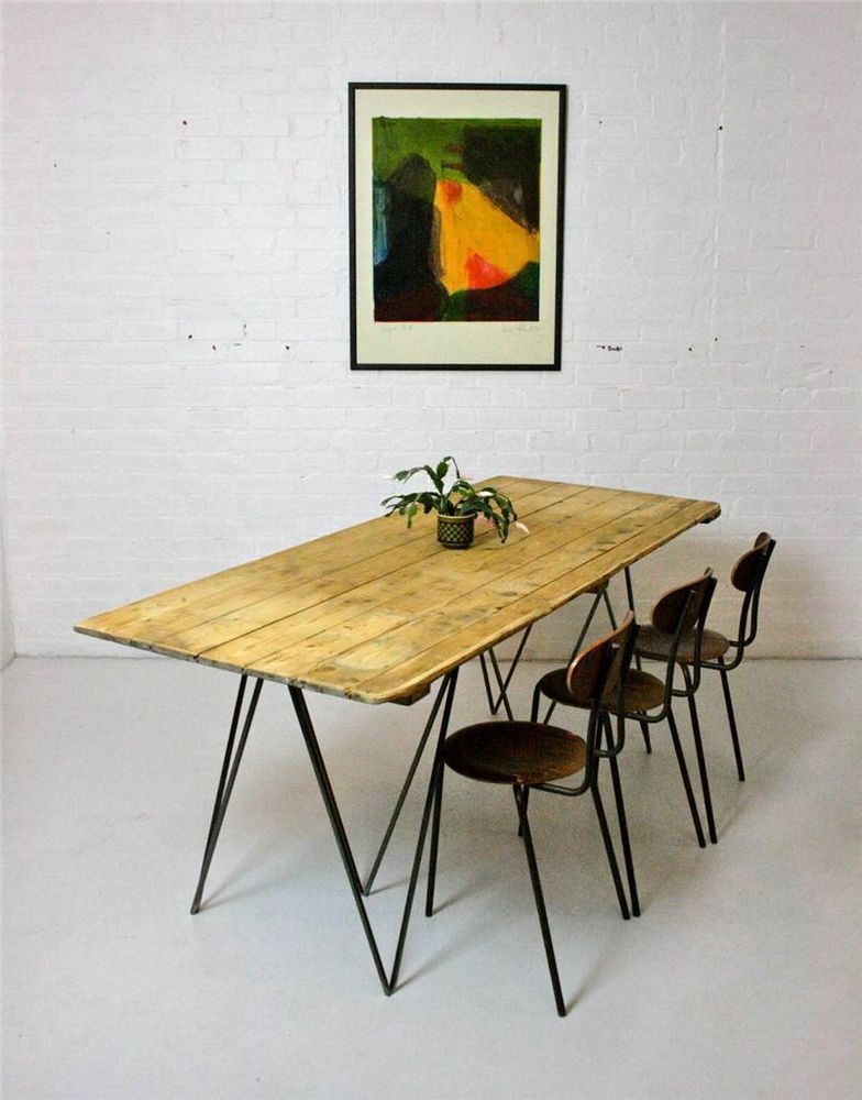 Large Vintage Pine Plank Dining Table With Industrial Metal Legs Pleasing Building A Dining Room Table Design Decoration