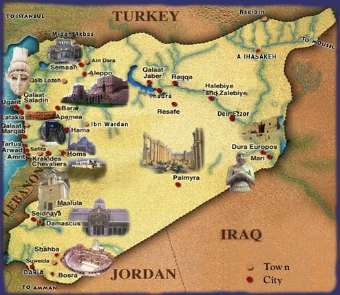 Syriaa country where my ancestors came from places i want to a landmark map of syria sciox Gallery